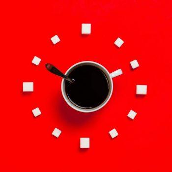 white mug on red background